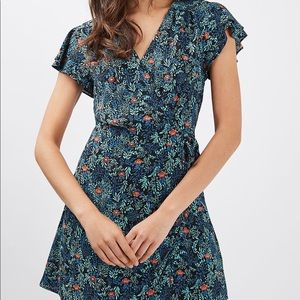 Topshop ditsy floral wrap ruffle teal blue dress